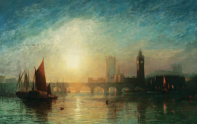 House Of Commons Painting - View Of Westminster Bridge And The Houses Of Parliament by James Francis Danby