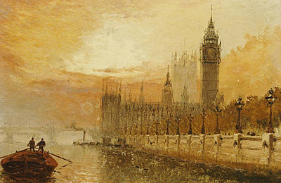 Lamppost Painting - View Of Westminster From The Thames by Claude T Stanfield Moore