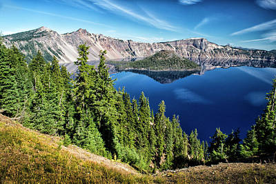 Photograph - View Of Wizard Island Crater Lake by Frank Wilson