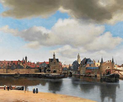 Jan Vermeer Painting - View On Delft by Jan Vermeer