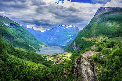 Print featuring the photograph View On Geiranger From Flydalsjuvet by Dmytro Korol