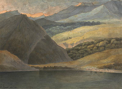 View On Lake Maggiore At Evening Art Print by Francis Towne