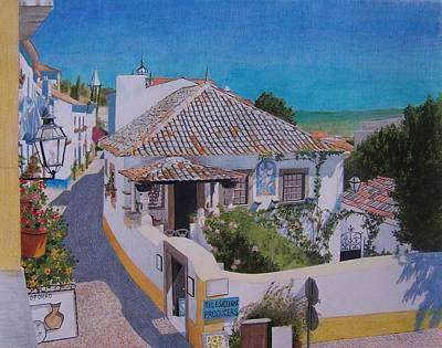 Art Print featuring the mixed media View On Obidos by Constance Drescher