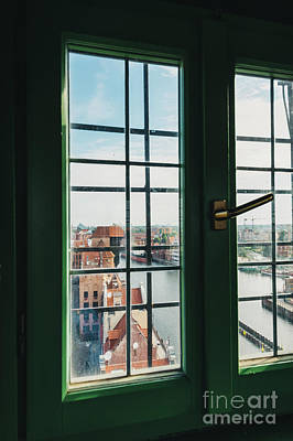 Photograph - View On Old Town Building In Gdansk Through The Window by Michal Bednarek