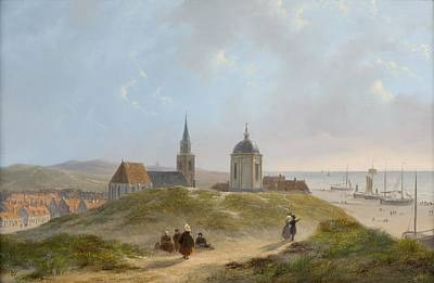 Color Painting - View On Scheveningen By Bartholomeus Van Hove. by Celestial Images