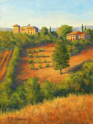 Villa Painting - View On The Hill, Tuscany, Italy by Elaine Farmer