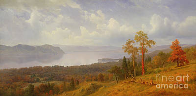 Mountain Painting - View On The Hudson Looking Across The Tappen Zee Towards Hook Mountain by Albert Bierstadt