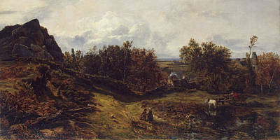 Wagon Painting - View On The Outskirts Of Granville by Theodore Rousseau