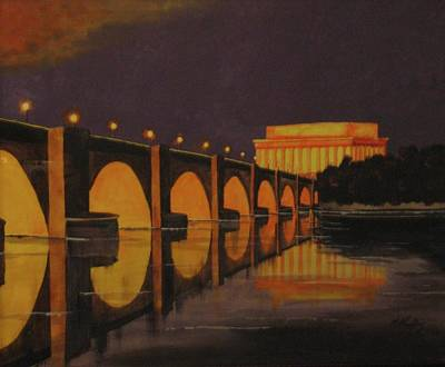 Lincoln Memorial Painting - View On The Potomac by CB Woodling