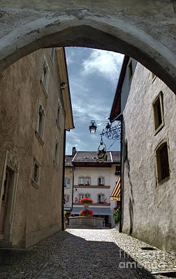 Photograph - view on the Rue du Bourg of Gruyeres by Michelle Meenawong