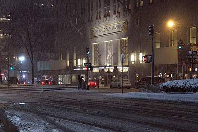 View On The Waldorf Astoria Manhattan In The Winter Snow Storm Late Night Original