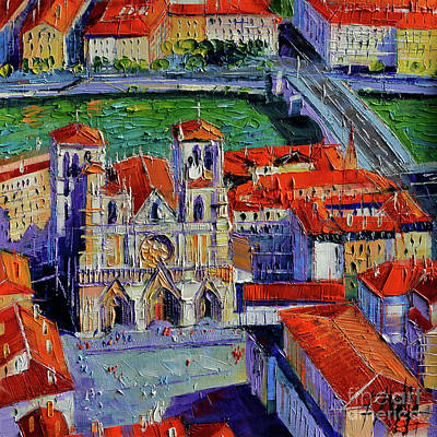 Illuminated Painting - View Over Cathedral Saint Jean Lyon by Mona Edulesco