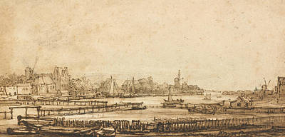 Drawing - View Over The Amstel From The Rampart by Rembrandt