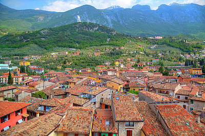 Photograph - view over the red roofs of Malcesin by Regina Koch