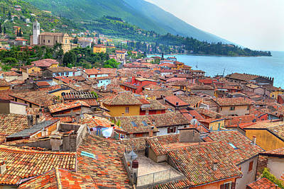 Photograph - view over the red roofs of Malcesine at the east bank of the Lake Garda by Regina Koch