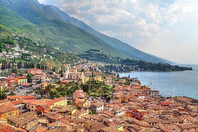 Photograph - view over the red roofs of Malcesine by Regina Koch
