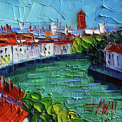 Painting - View Over The Saone River - Modern Impressionist Stylized Cityscape by Mona Edulesco