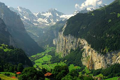 Lauterbrunnen Photograph - View Overlooking The Lauterbrunnen by Anne Keiser