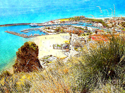 Digital Art - View Port And Beach With Rock by Giuseppe Cocco