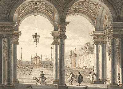 Italian Landscapes Drawing - View Through A Baroque Colonnade Into A Garden by Canaletto