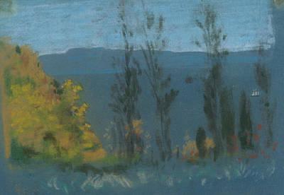 Pastel - View Through Poplars by Arthur Bowen Davies