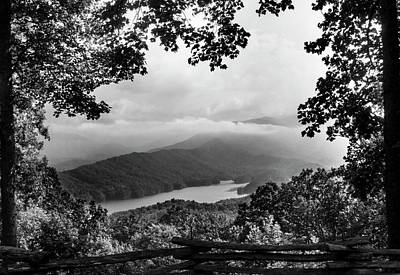 Fog Photograph - View Through The Trees In Black And White by Greg Mimbs