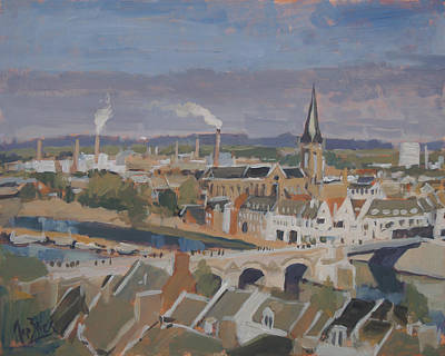 Sint Servaasbrug Painting - View To The East Bank Of Maastricht by Nop Briex