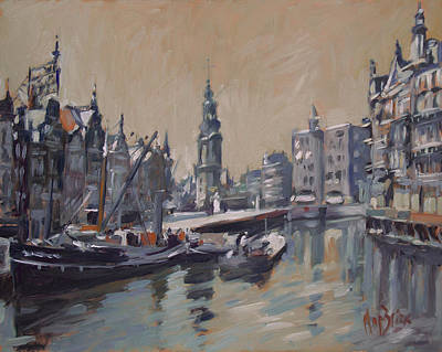 Painting - View To The Mint Tower Amsterdam by Nop Briex