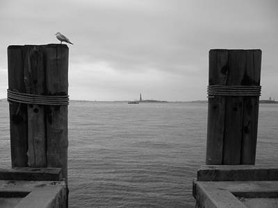 View Toward Statue Of Liberty In Nyc Art Print