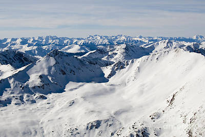 Impressionist Landscapes - View West from Summit of Mount Elbert Colorado in Winter by Steven Krull
