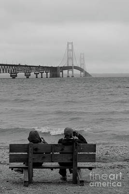 Photograph - Viewing Mackinac Bridge Grayscale by Jennifer White
