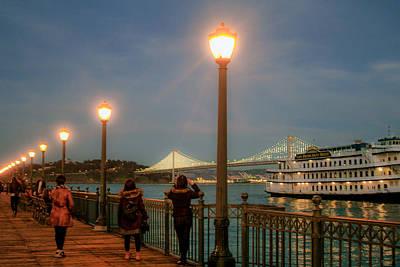 Photograph - Viewing The Bay Bridge Lights by Bonnie Follett