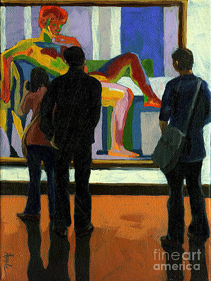 Viewing The Nude Oil Painting Art Print by Linda Apple