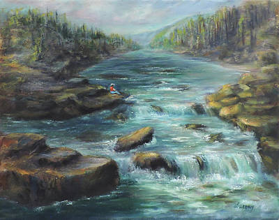 Painting - Viewing The Rapids by Katalin Luczay