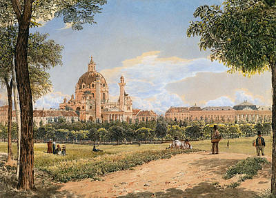 Painting - Views Of The Karlskirche And The Polytechnic Institute by Rudolf von Alt