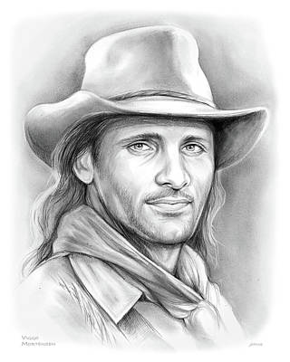 Drawing - Viggo Mortensen  by Greg Joens