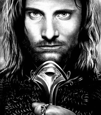 Drawing - Viggo Mortensen by Rick Fortson