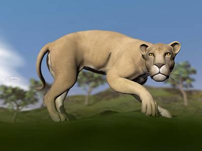 Katharine Hepburn - Vigilent lioness - 3D render by Elenarts - Elena Duvernay Digital Art