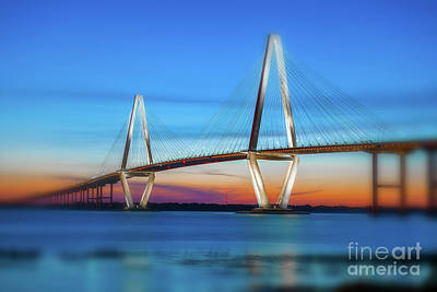 Photograph - Vignette Blur Of The Cooper River Bridge by Dale Powell