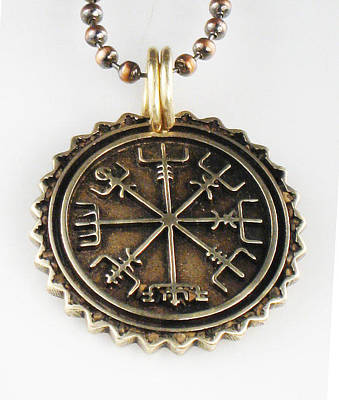 Esprit Mystique Art Jewelry - Viking Bronze Vegvisir Pendant by Virginia Vivier