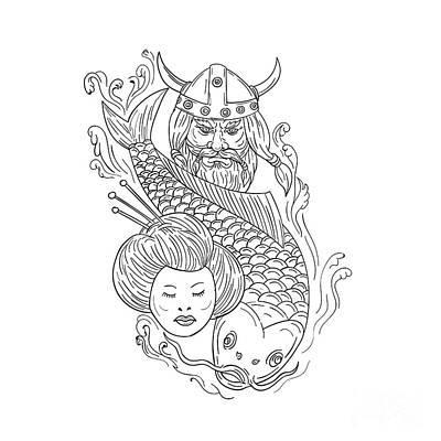 Koi Digital Art - Viking Carp Geisha Head Black And White Drawing by Aloysius Patrimonio