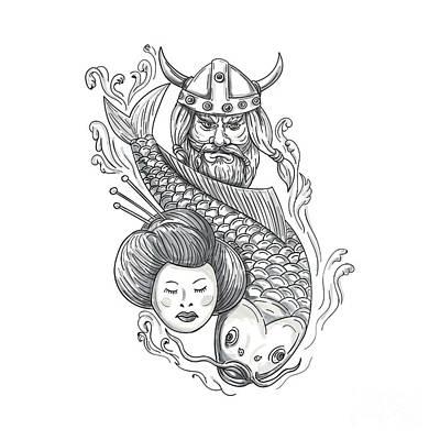 Oriental Tattoo Digital Art - Viking Carp Geisha Head Tattoo by Aloysius Patrimonio