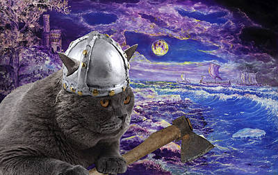 Viking Cat And Northern Landscape Art Print by Alexey Konovalenko