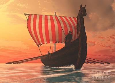 Viking Man And Longship Art Print by Corey Ford