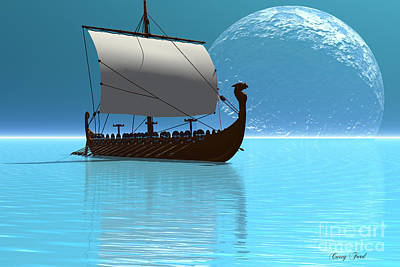 Viking Ship 2 Art Print by Corey Ford