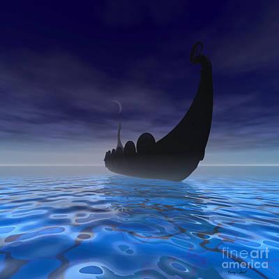 Viking Ship Painting - Viking Ship by Corey Ford