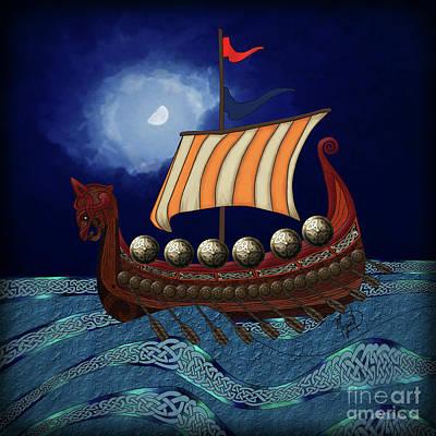 Digital Art - Viking Ship by Megan Dirsa-DuBois