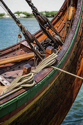 Historic Schooner Photograph - Viking Ship Rigging by Dale Kincaid