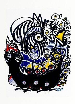 Viking Ships Drawing - Viking Ship by Wilson Abad