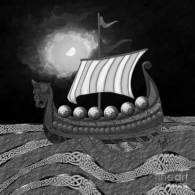 Digital Art - Viking Ship_bw by Megan Dirsa-DuBois